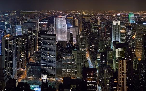Фото обои свет, ночь, city, здания, Нью-Йорк, иллюминация, New