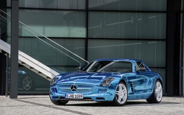 Фото обои Авто, Синий, Mercedes, Mercedes Benz, AMG, SLS, Хром