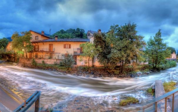 Фото обои деревья, пейзаж, мост, река, здания, панорама