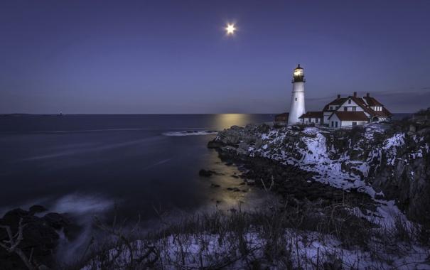 Фото обои море, ночь, маяк