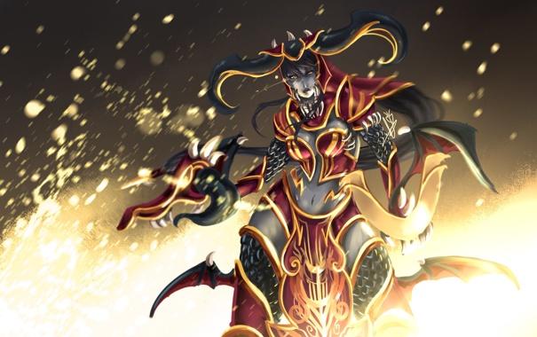 Фото обои fire, League of Legends, Shyvana, Armor