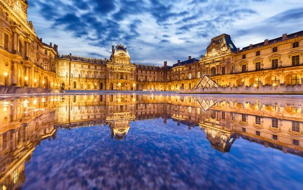 Фото обои вода, отражение, Франция, Париж, здание, Лувр, Paris