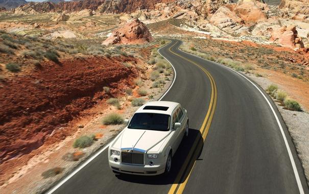 Фото обои дорога, машина, горы, обои, wallpaper, phantom, люкс