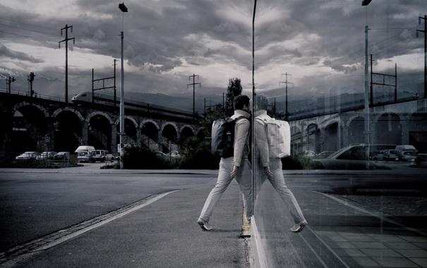 Фото обои ночь, стиль, отражение, Город, нуар