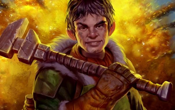 Фото обои взрыв, улыбка, парень, Guardians of Middle-Earth, Lord of the Rings, разводной ключ