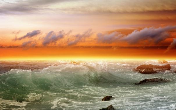 Фото обои море, облака, камни, волна, прибой