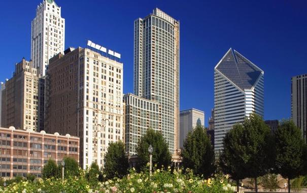 Фото обои парк, америка, чикаго, Chicago, Illinois, сша, Skyline
