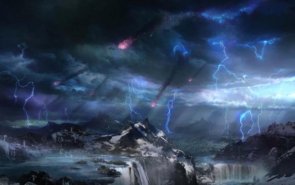 Фото обои горы, природа, дождь, стихия, арт, метеориты