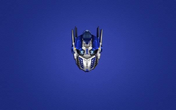 Фото обои синий, минимализм, голова, Трансформеры, Transformers, Optimus Prime, Оптимус Прайм