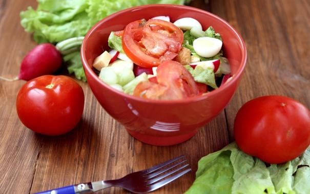 Фото обои яйца, овощи, помидоры, салат, редис