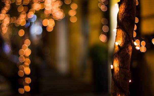 Фото обои ночь, город, огни