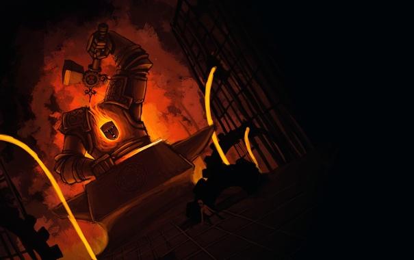 Фото обои мальчик, молот, шестерни, голем, наковальня, кузнец, кузнеца