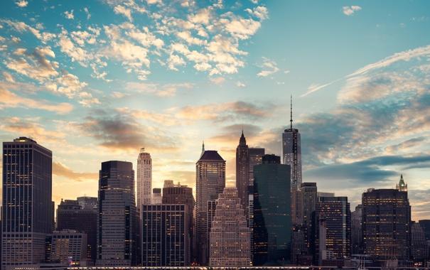 Фото обои небо, облака, город, здания, мегаполис, Нью - Йорк, New - York