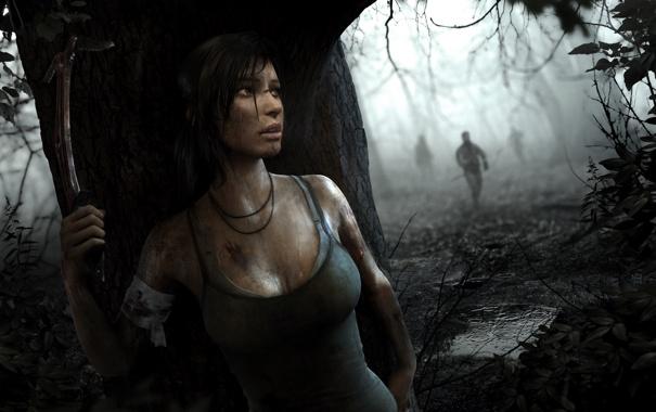 Фото обои лес, девушка, бандиты, Tomb Raider, Лара Крофт, Расхитительница гробниц