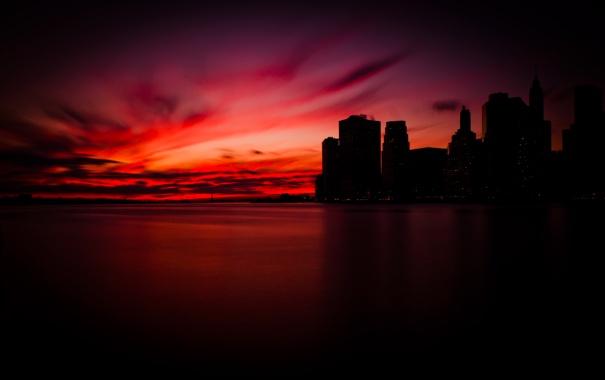 Фото обои небо, вода, облака, закат, city, город, океан