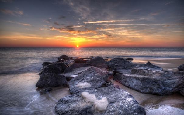 Фото обои море, пейзаж, закат, камни