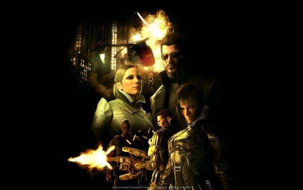 Фото обои взрыв, игра, game, киберпанк, human revolution, deus ex, адам дженсен