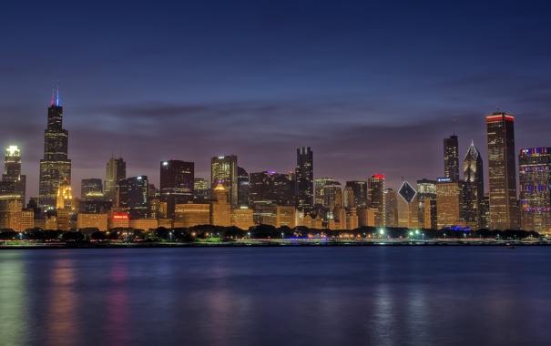 Фото обои город, огни, озеро, дома, Chicago, Skyline, Blue Hour