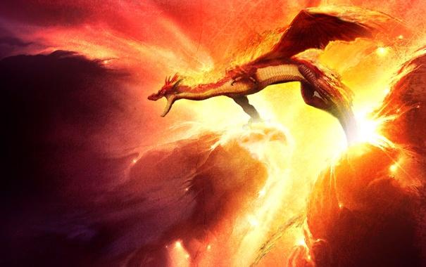Фото обои огонь, дракон, вихри, в небе