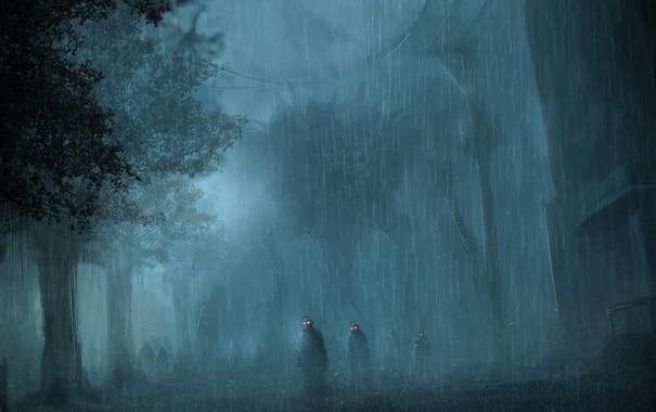 Фото обои лес, глаза, ночь, дождь, арт, зомби, войско