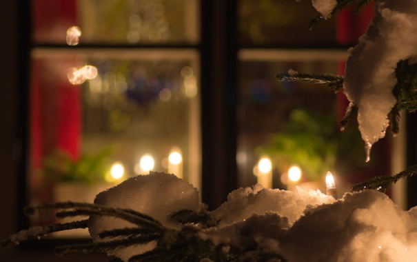 Фото обои зима, настроение, праздник, окно