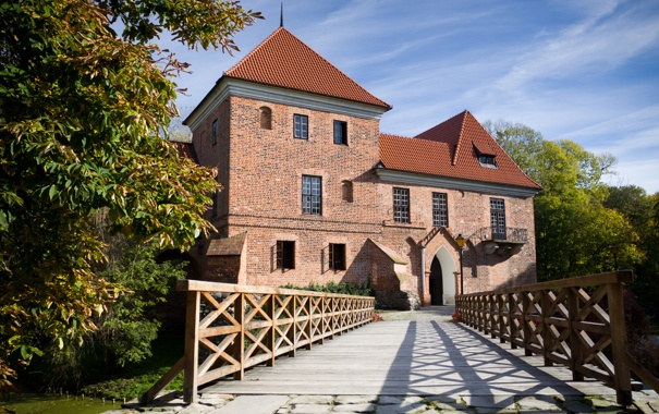 Фото обои перила, кирпичный, Kutno, Кутно, Польша, Poland, замок