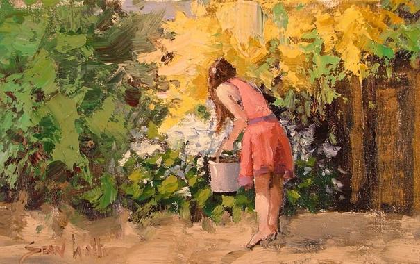 Фото обои арт, Sean Wallis, Picking Flowers