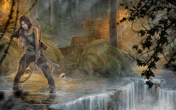Фото обои лес, девушка, деревья, ручей, череп, Tomb Raider, Расхитительница гробниц