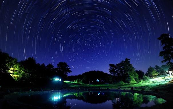 Фото обои круги, ночь, дома, съемка, звездное небо