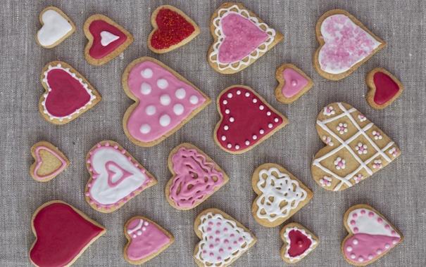 Фото обои печенье, сердечки, выпечка, hearts, valentines, глазурь, cookies