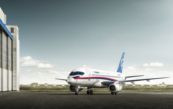Фото обои самолёт, superjet 100, sukhoi