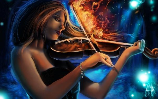 Фото обои взгляд, девушка, музыка, огонь, скрипка, волосы, руки