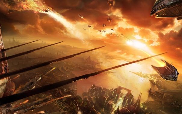 Фото обои взрыв, тучи, город, война, корабли