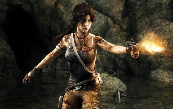 Фото обои Tomb Raider, blood, pistol, Lara Croft, fanart
