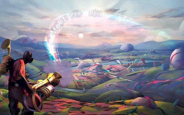 Фото обои небо, солнце, облака, пейзаж, человек, Meet The Pyro