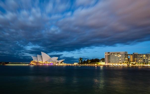 Фото обои облака, небо, Австралия, вечер, огни, опера, Сидней