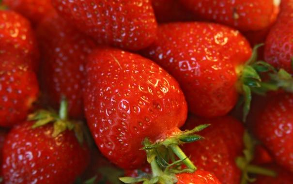 Фото обои макро, ягоды, земляника, клубника