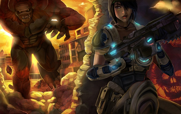 Фото обои девушка, оружие, монстр, боец, Gears of War