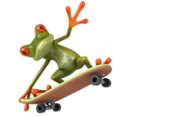 Фото обои транспорт, графика, лягушка, мопед, Free frog 3d