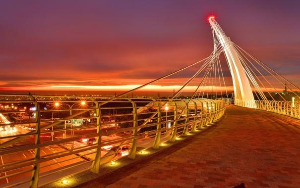 Фото обои ночь, мост, город