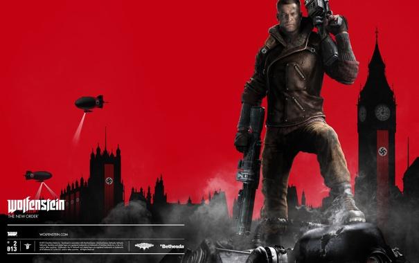Фото обои взгляд, оружие, дирижабль, Биг-Бен, мужчина, свастика, Big Ben