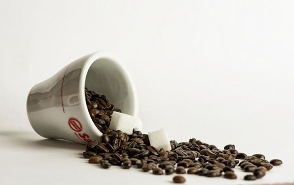 Фото обои чашка, кофе, сахар, макро