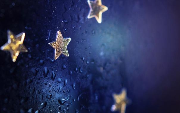Фото обои вода, капли, макро, звездочки, stars, macro