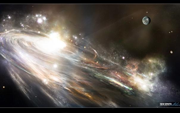 Фото обои планета, спираль, галактика