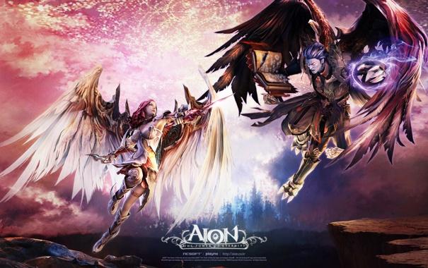 Фото обои крылья, битва, мечи