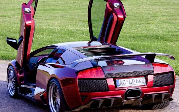 Фото обои Lamborghini, Murcielago, открытые двери, задняя часть, Ламбо-двери, LP640, JB Car Design
