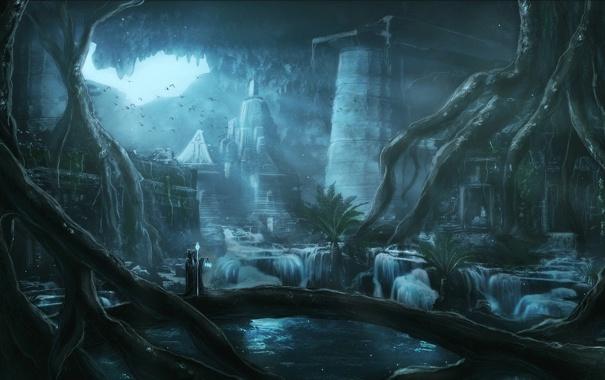 Фото обои деревья, корни, озеро, человек, арт, фонарь, храм