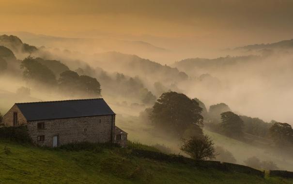 Фото обои поле, пейзаж, туман, дом, утро