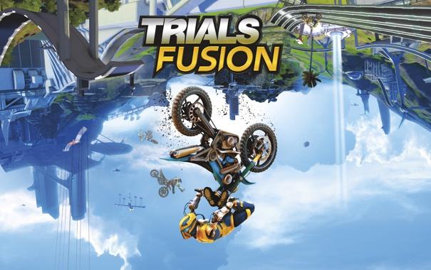 Фото обои робот, RedLynx, небо, шины, Trials Fusion, грязь, Ubisoft Entertainment
