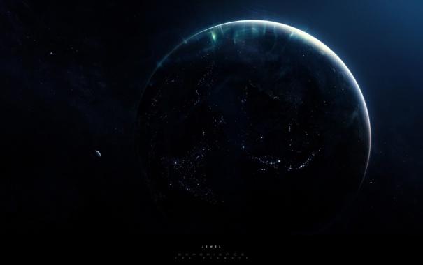 Фото обои космос, свет, огни, Земля, драгоценность